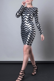 DOLCICIMO Silver Sequin Dress - Front full body