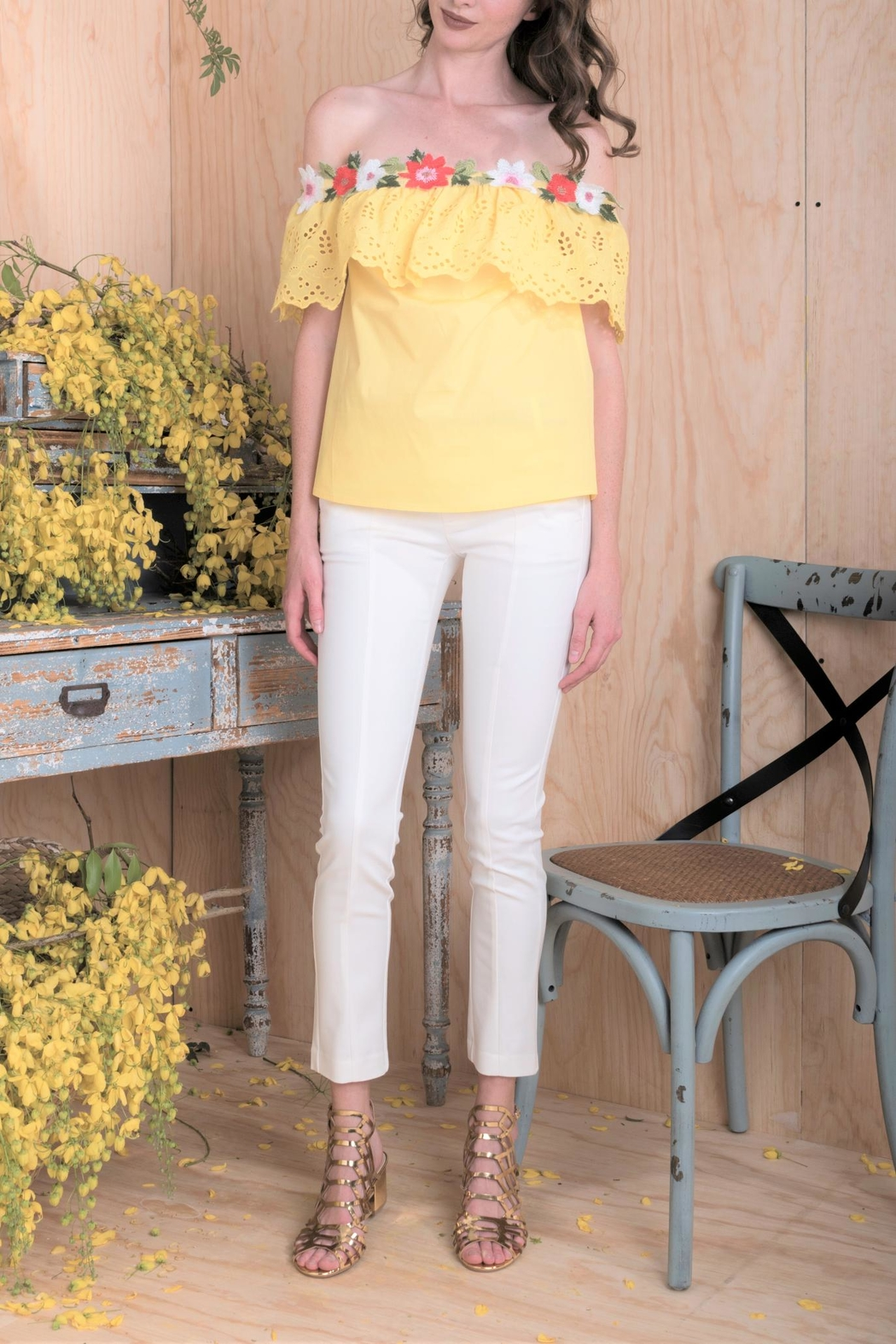 DOLCICIMO Yellow Floral Top - Front Cropped Image