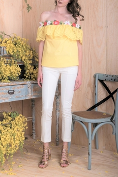 DOLCICIMO Yellow Floral Top - Product List Image