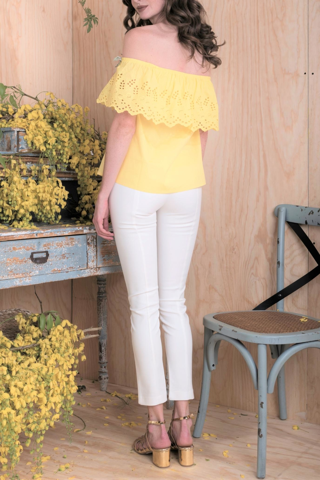 DOLCICIMO Yellow Floral Top - Front Full Image