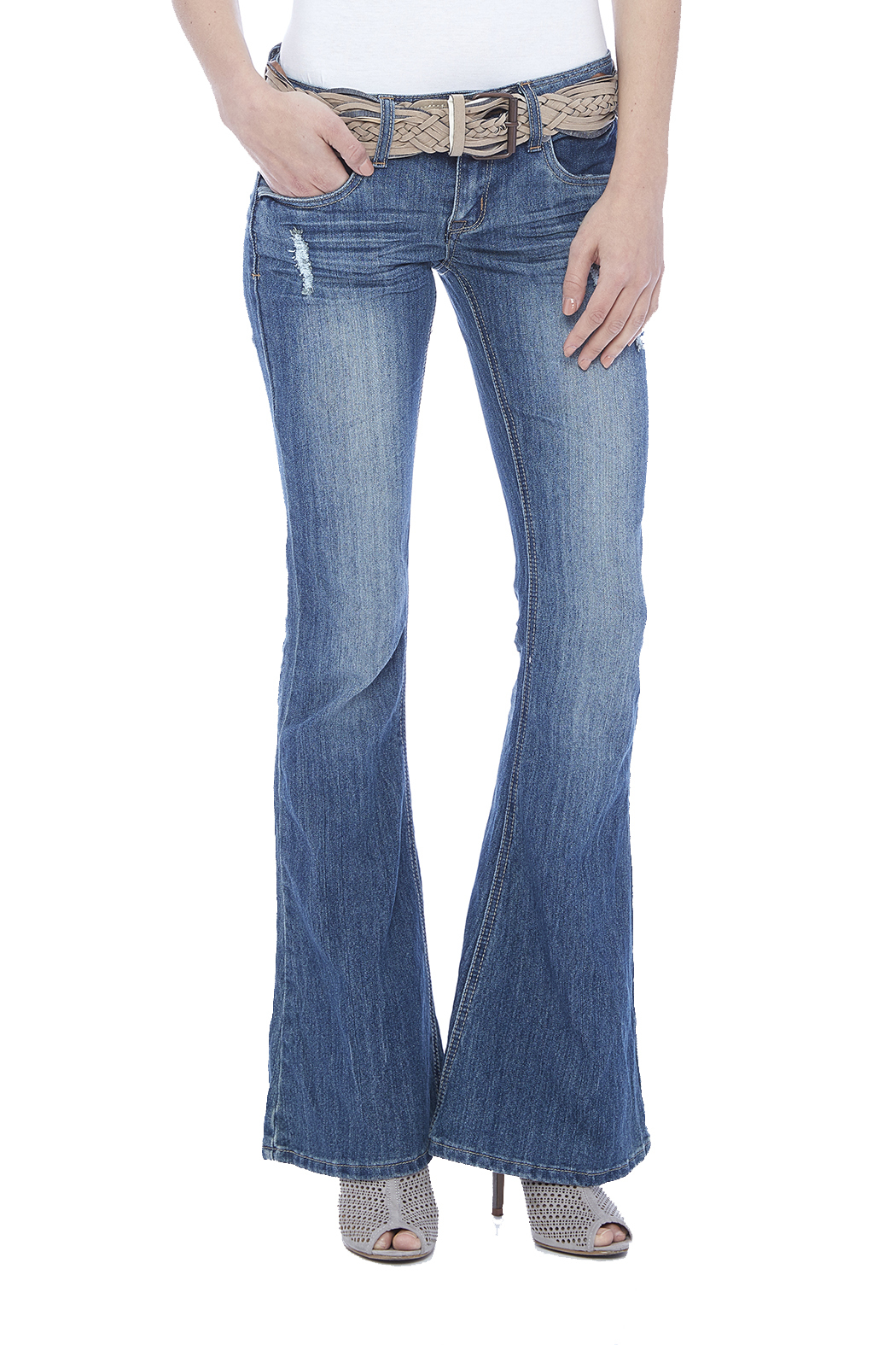 Dollhouse Low Rise Flare Jeans - Front Cropped Image