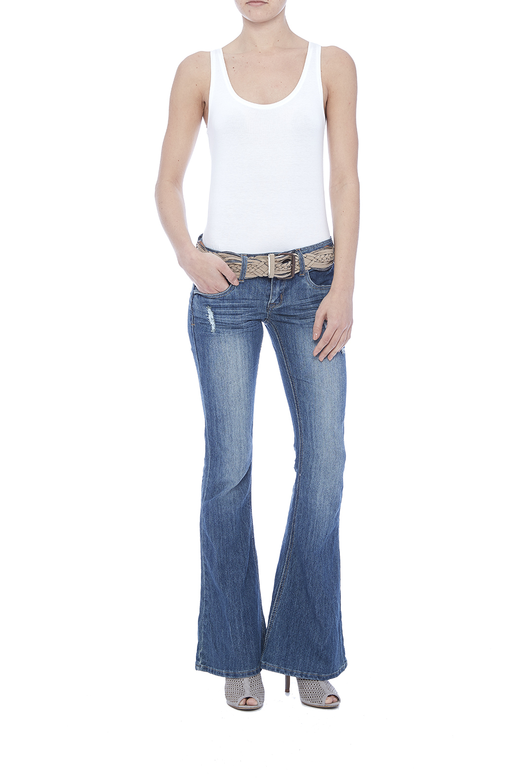 Dollhouse Low Rise Flare Jeans - Front Full Image