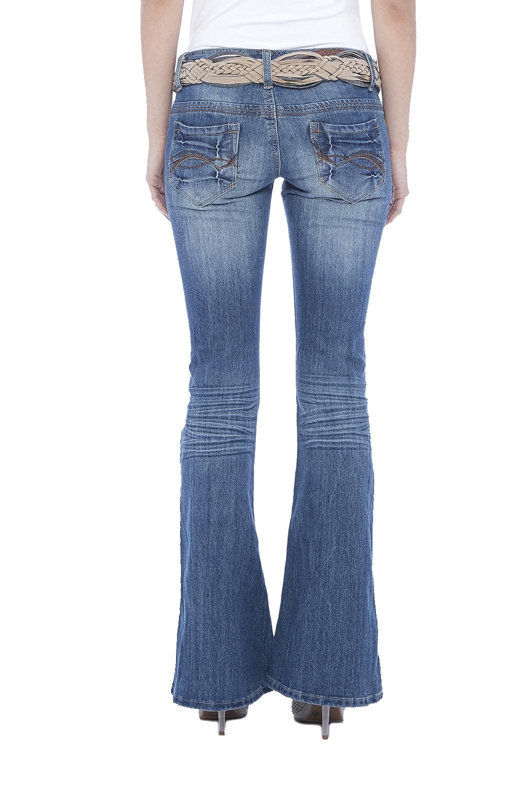Dollhouse Low Rise Flare Jeans - Back Cropped Image