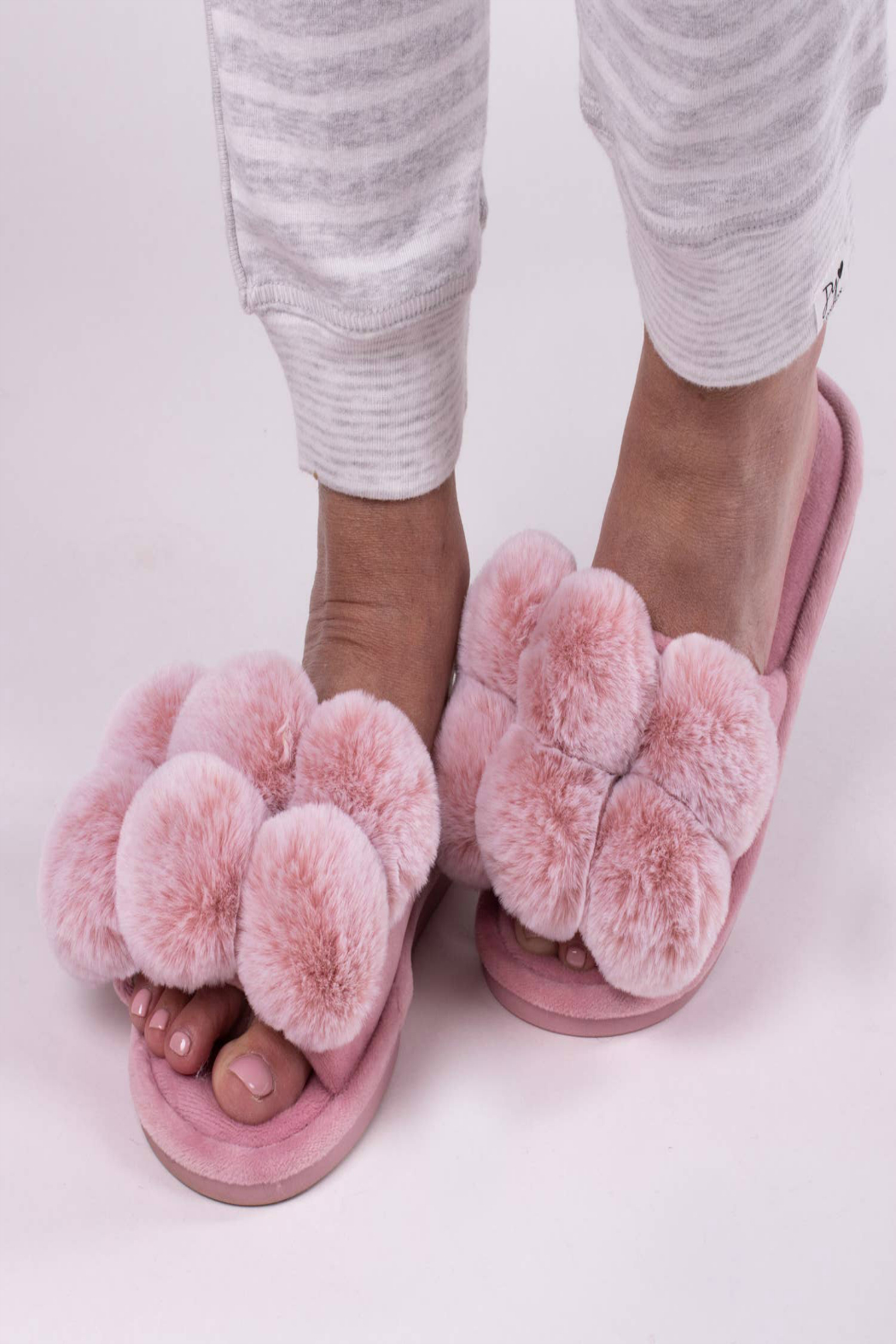 Pretty You London Dolly Pom Pom Slippers - Front Full Image