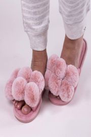 Pretty You London Dolly Pom Pom Slippers - Front full body