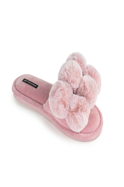 Pretty You London Dolly Pom Pom Slippers - Front cropped