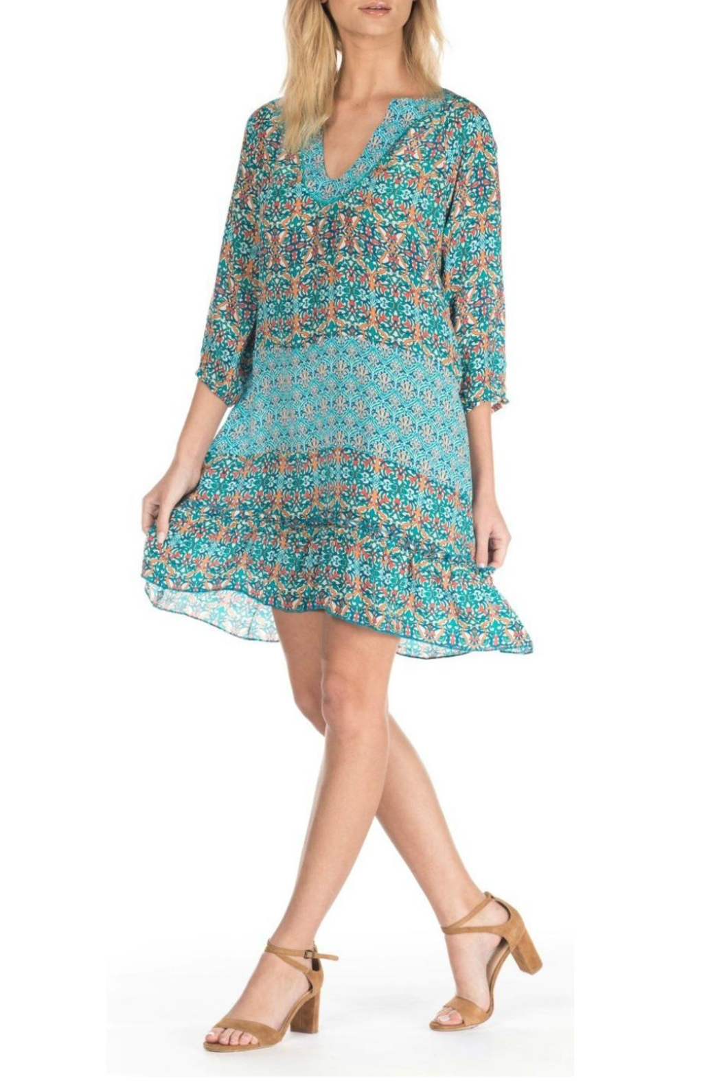 Tolani Dolly Turquoise Dress - Side Cropped Image