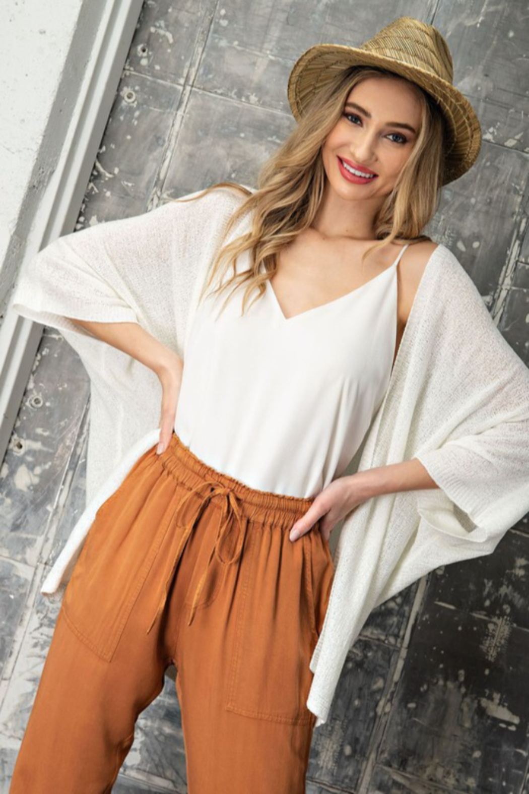 eesome Dolman Short Sleeve Cardigan - Front Full Image