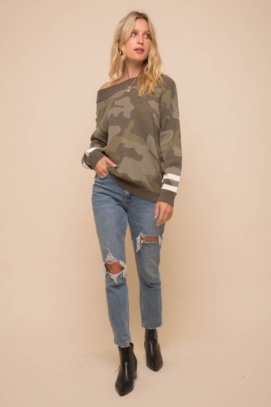 Hem & Thread Olive Camo Sweater w Varsity Cuff - Back Cropped Image