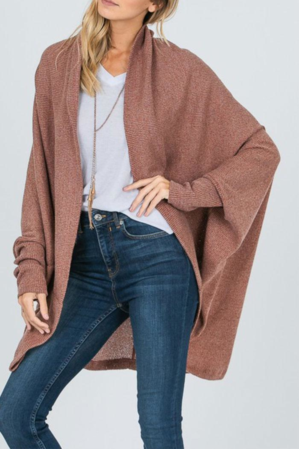 Sung Light Dolman Sleeve Cardigan - Front Cropped Image
