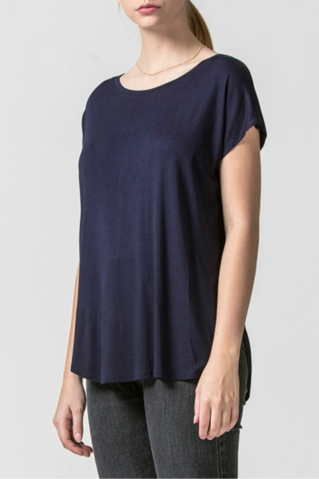 HYFVE Dolman sleeve curved hem top - Main Image