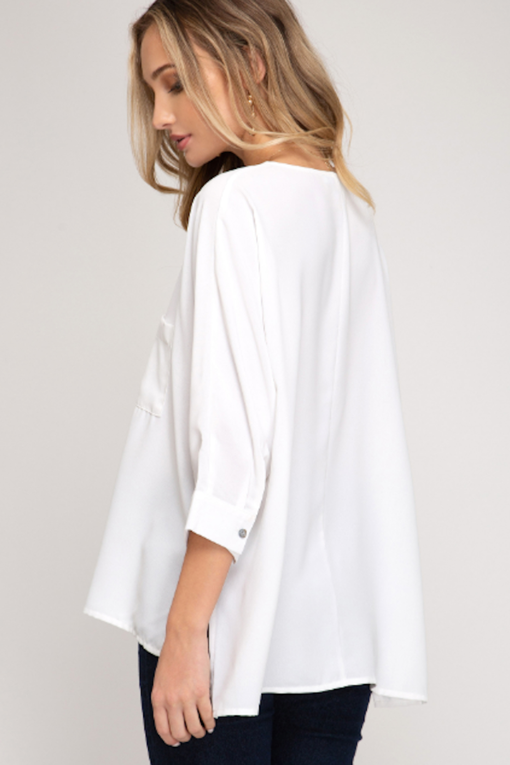 She and Sky Dolman Sleeve Front Pocket Top - Front Full Image