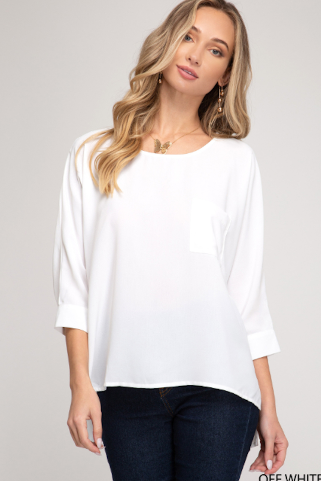 She and Sky Dolman Sleeve Front Pocket Top - Main Image