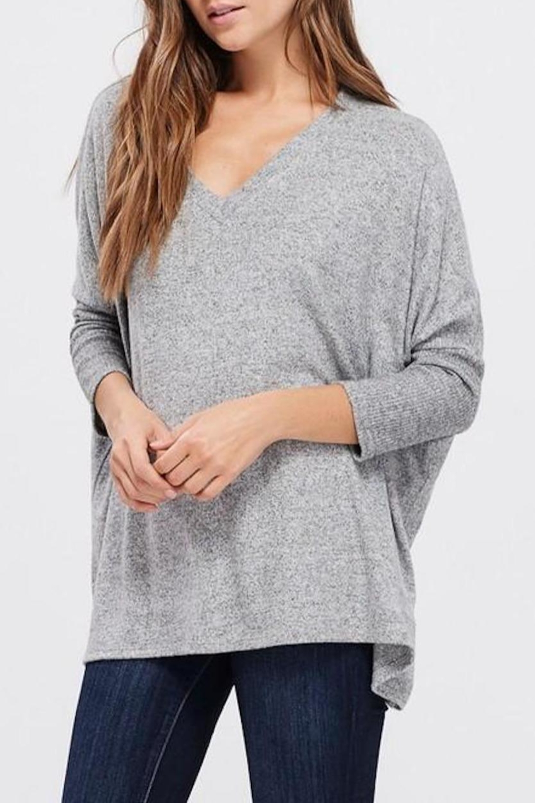 Cherish Dolman-Sleeve Knit Top - Front Full Image