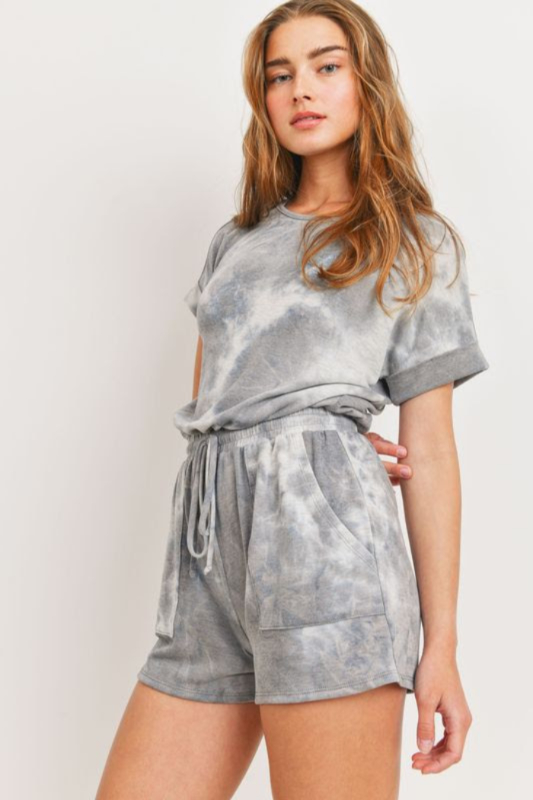 Cherish  Dolman Sleeve Tie Dye Romper w Pockets - Side Cropped Image