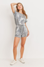 Cherish  Dolman Sleeve Tie Dye Romper w Pockets - Front full body
