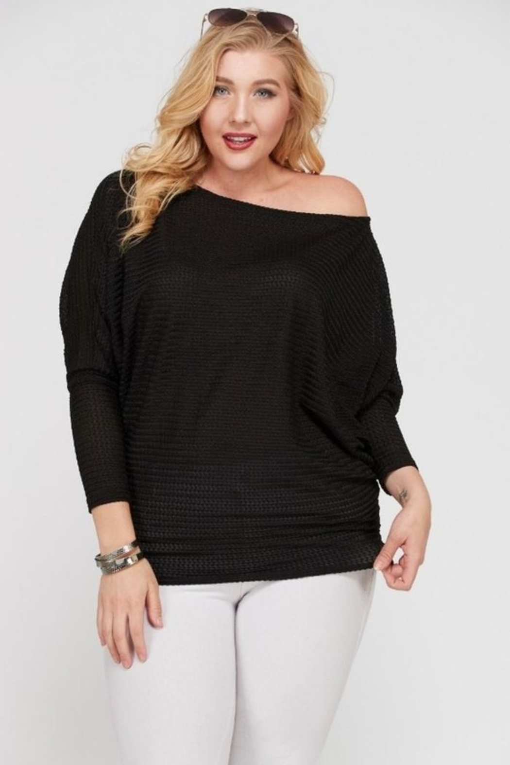 Janette Plus Dolman Sleeve Top - Front Cropped Image