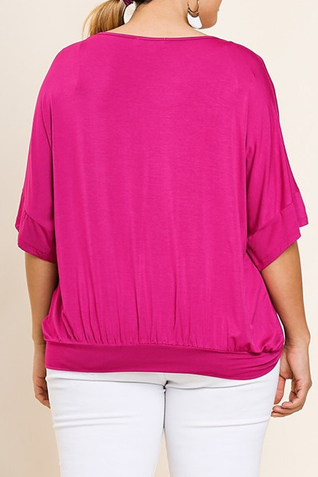 Umgee  Dolman Sleeve V-Neck Top - Front Full Image
