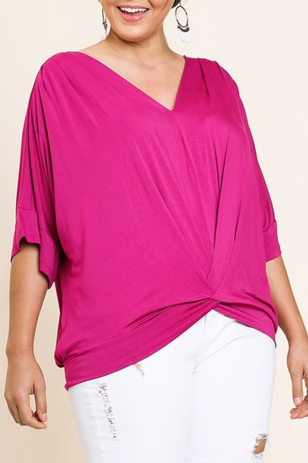 Umgee  Dolman Sleeve V-Neck Top - Main Image