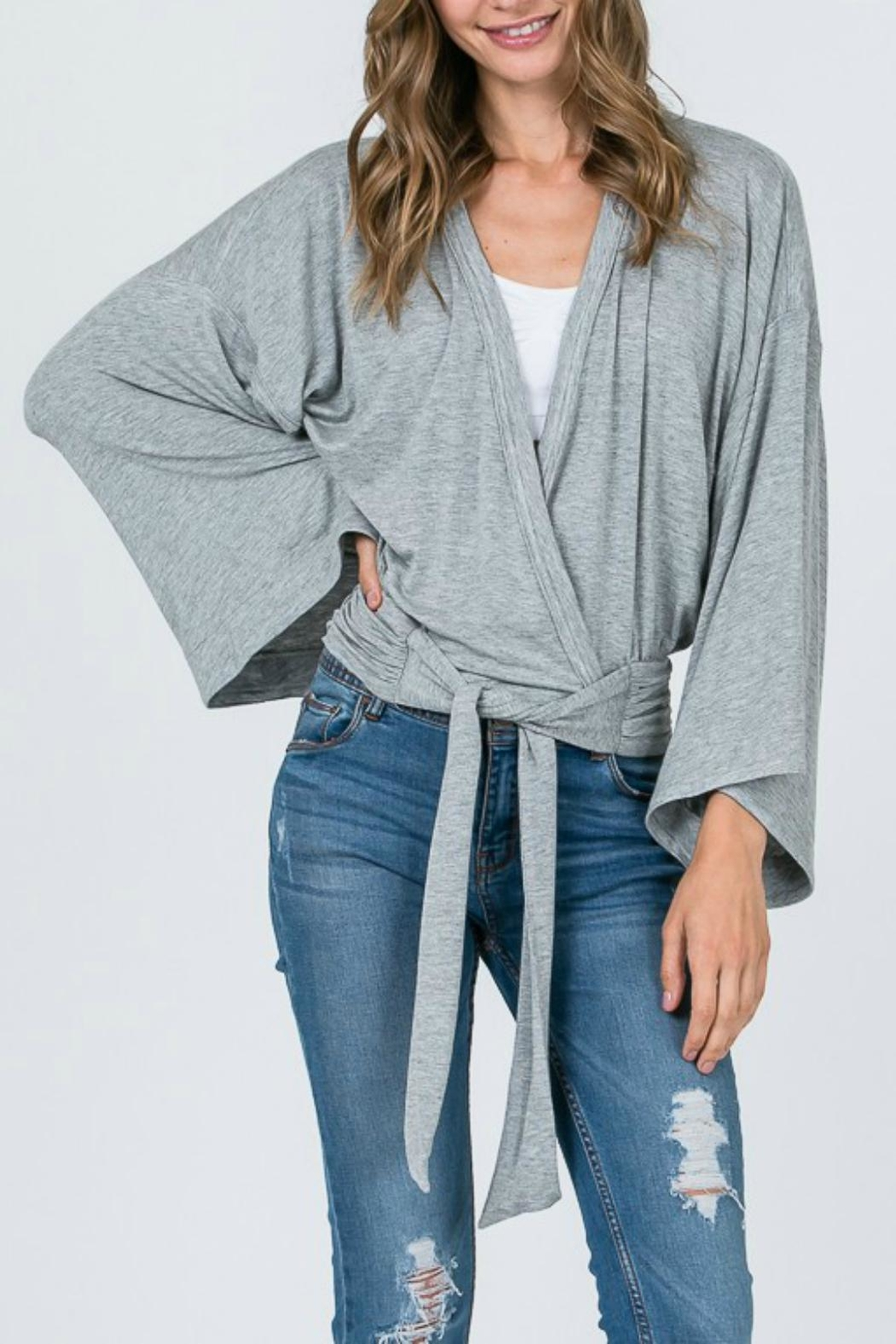 Pretty Little Things Dolman Wrap Top - Front Cropped Image