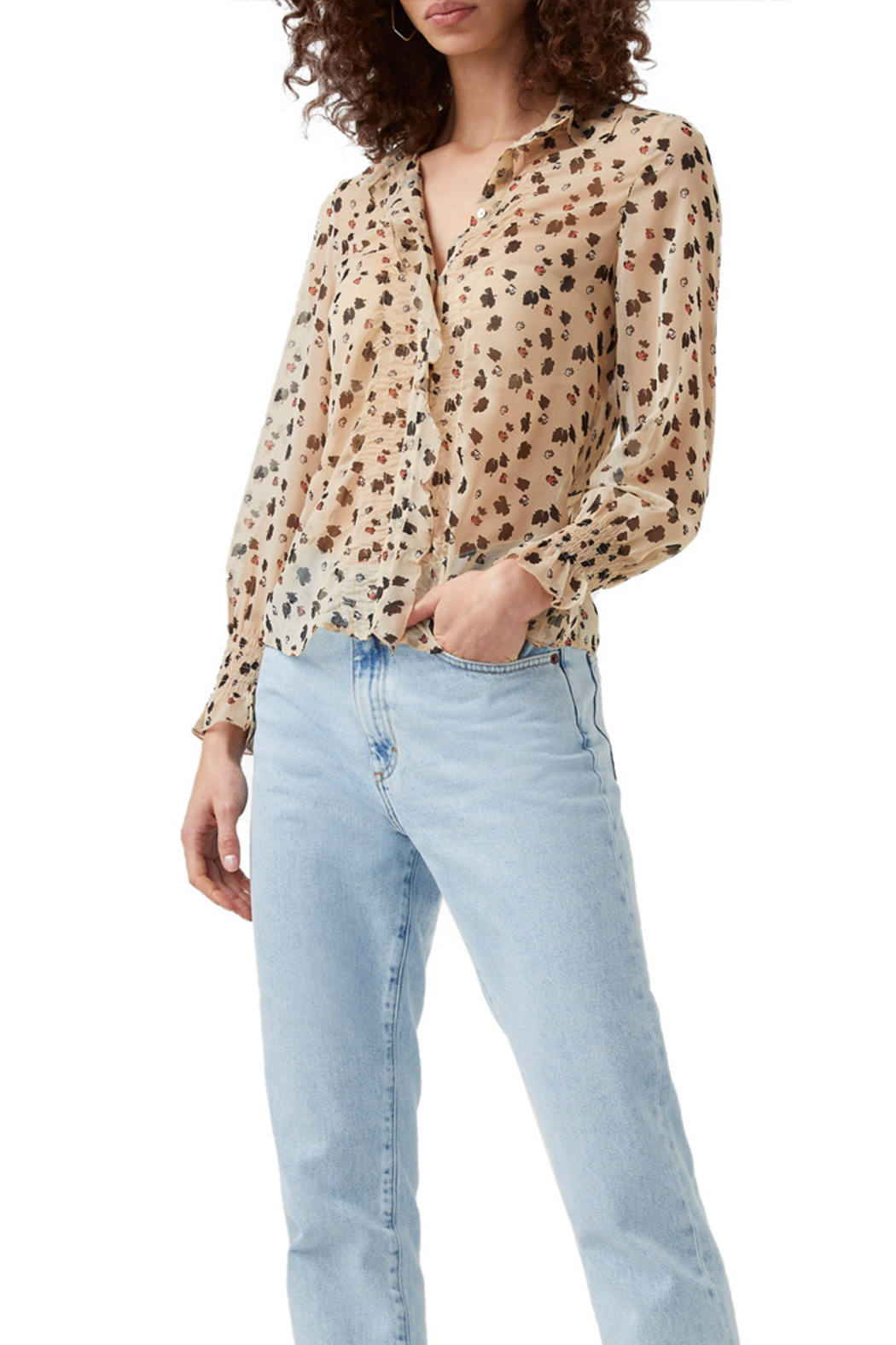 French Connection Dolores Crinkle Sheer Shirt - Front Full Image