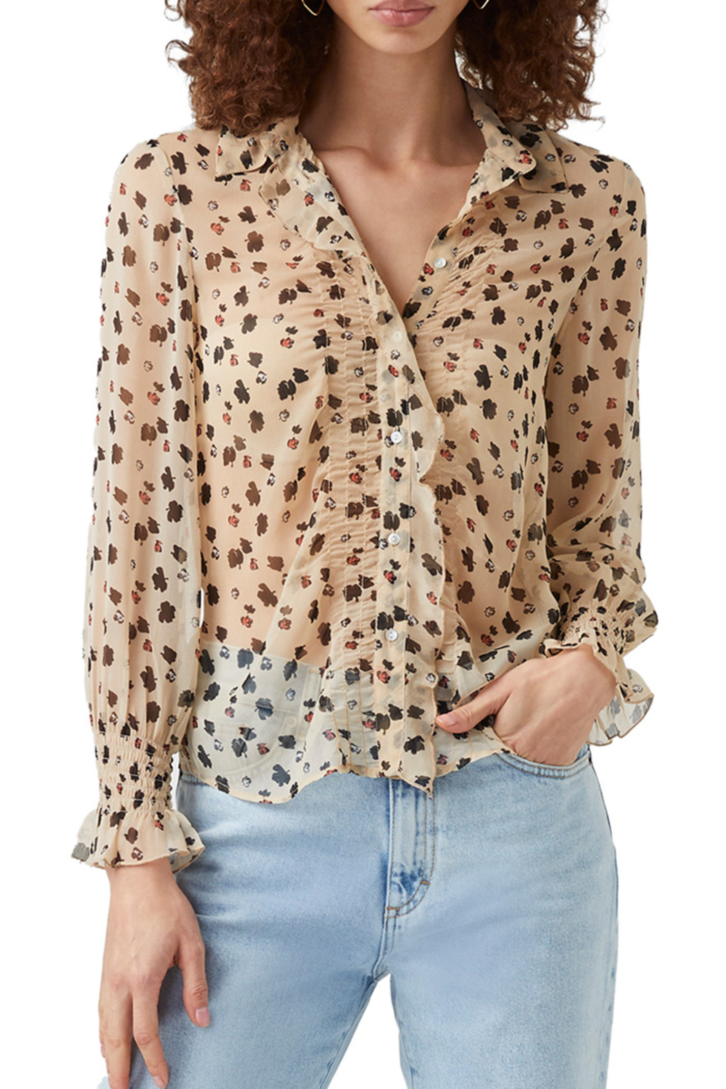 French Connection Dolores Crinkle Sheer Shirt - Back Cropped Image