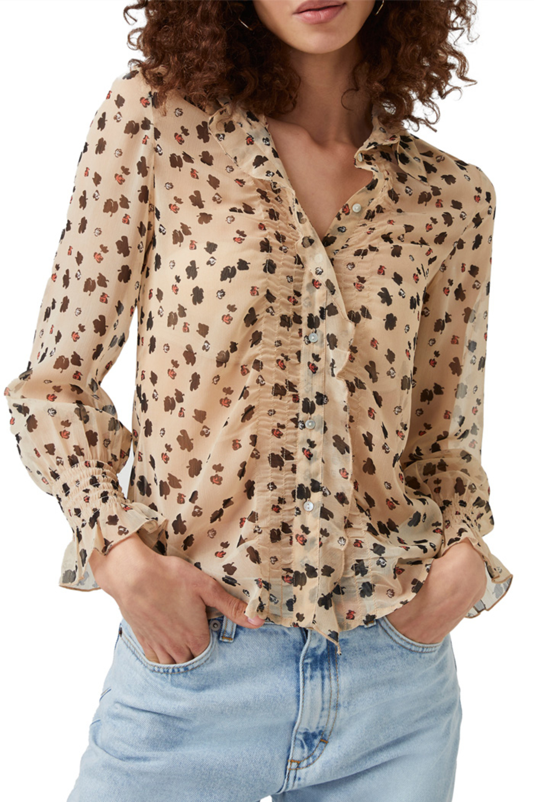 French Connection Dolores Crinkle Sheer Shirt - Main Image