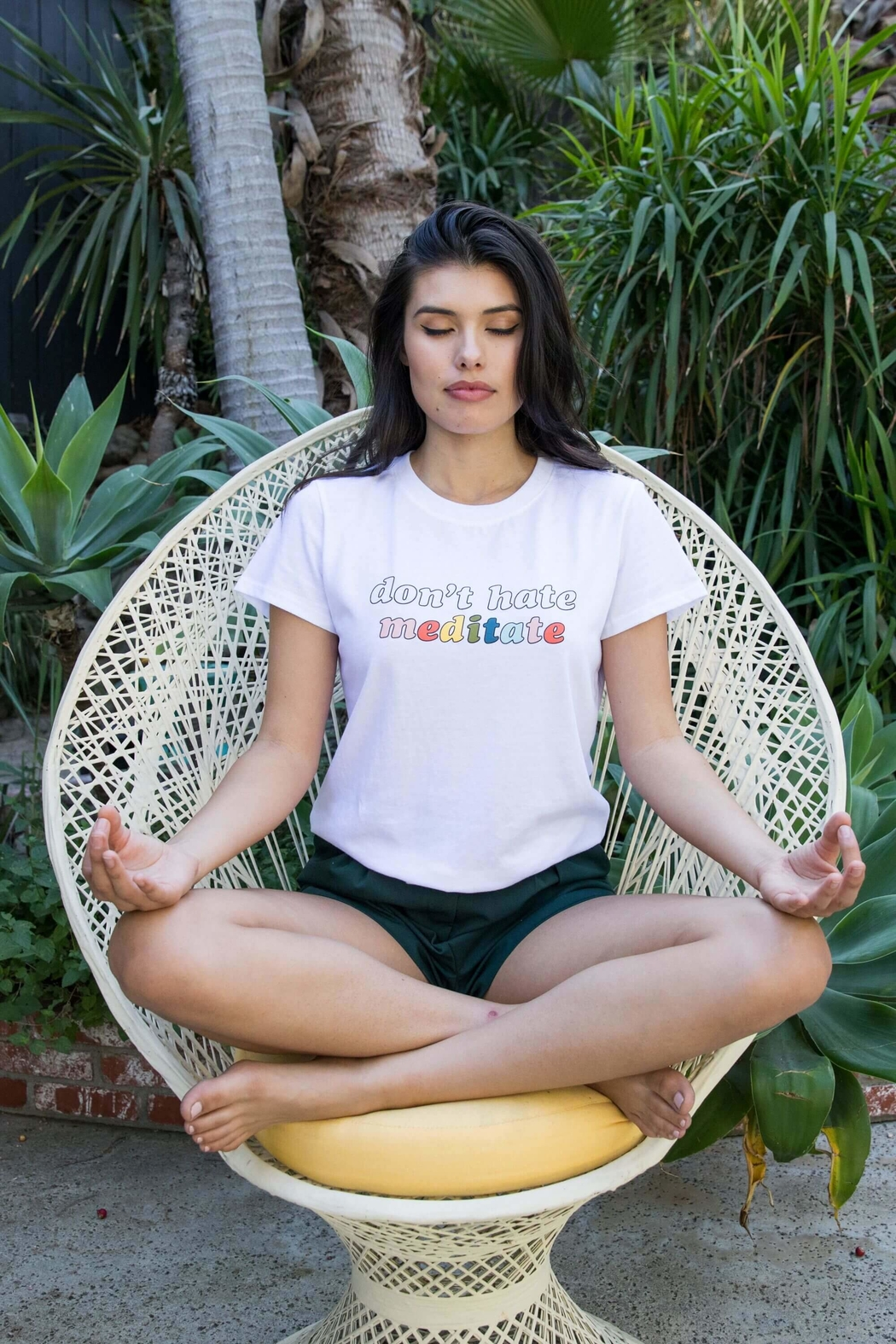 Suburban riot Don't Hate Meditate Loose Tee - Front Cropped Image