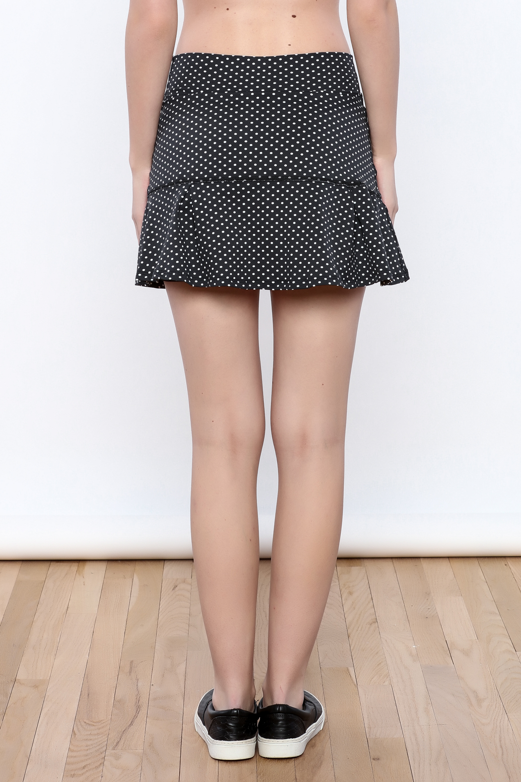 Dona Jo Polka Dot Tennis Skirt - Back Cropped Image