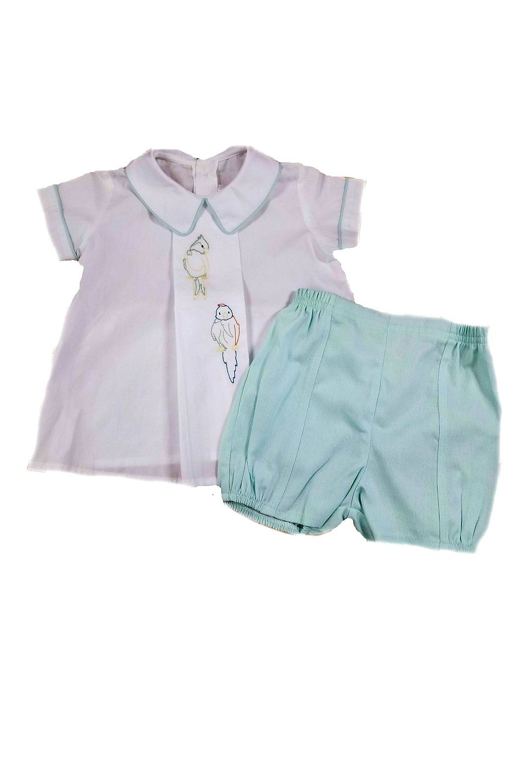 Dondolo Albert Parrot-Embroidery Short-Set - Back Cropped Image