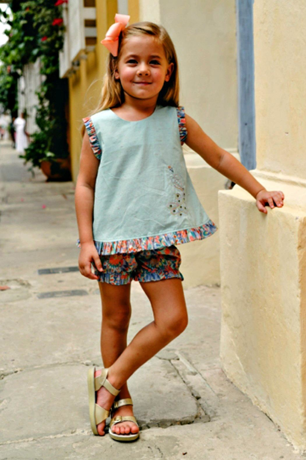 Dondolo Sabrina Aqua-Liberty-Peacock-Embroidered Bloomer-Set - Main Image