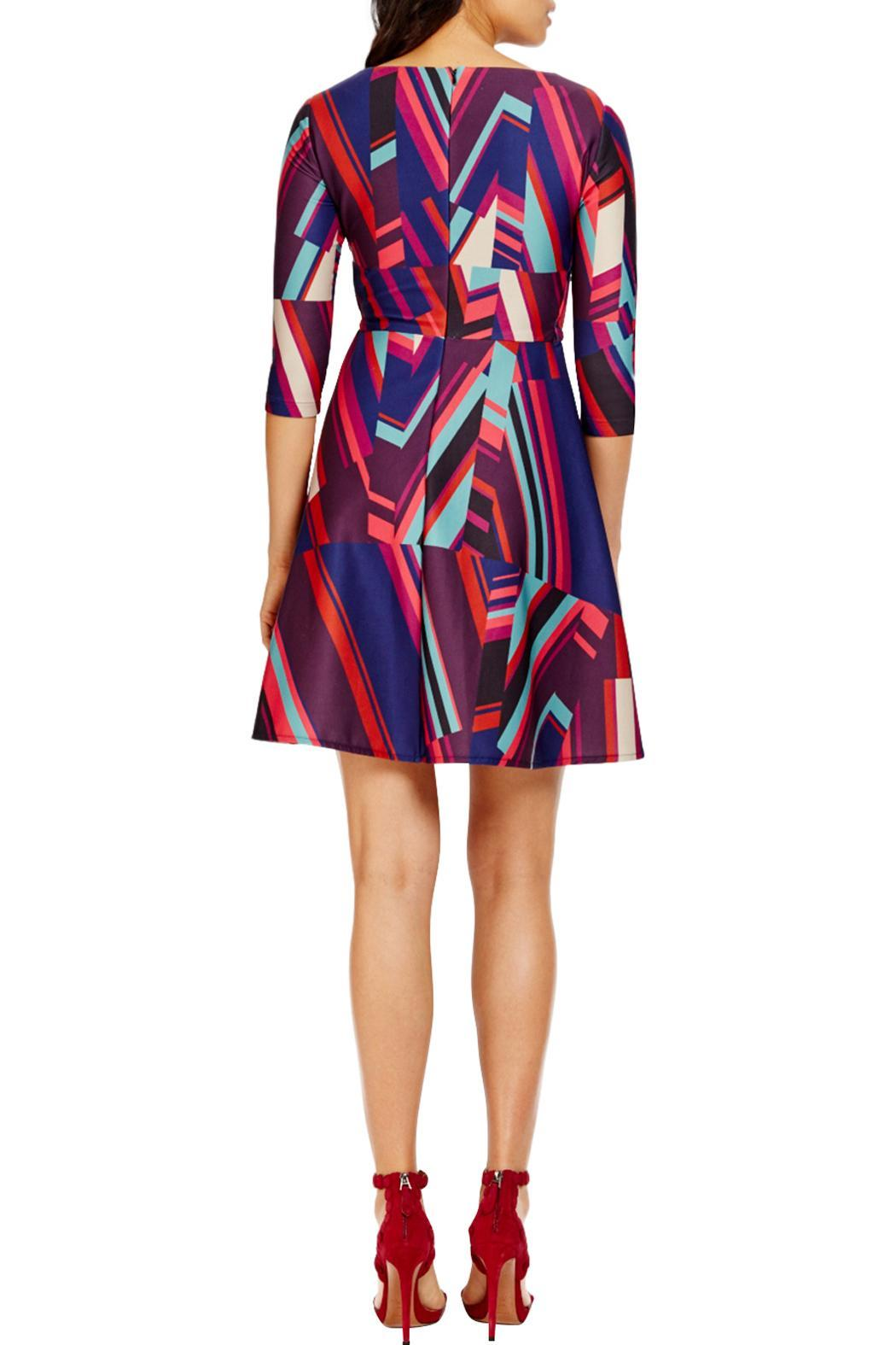 Donna Morgan Abstract Stripefit Flare Dress - Front Full Image