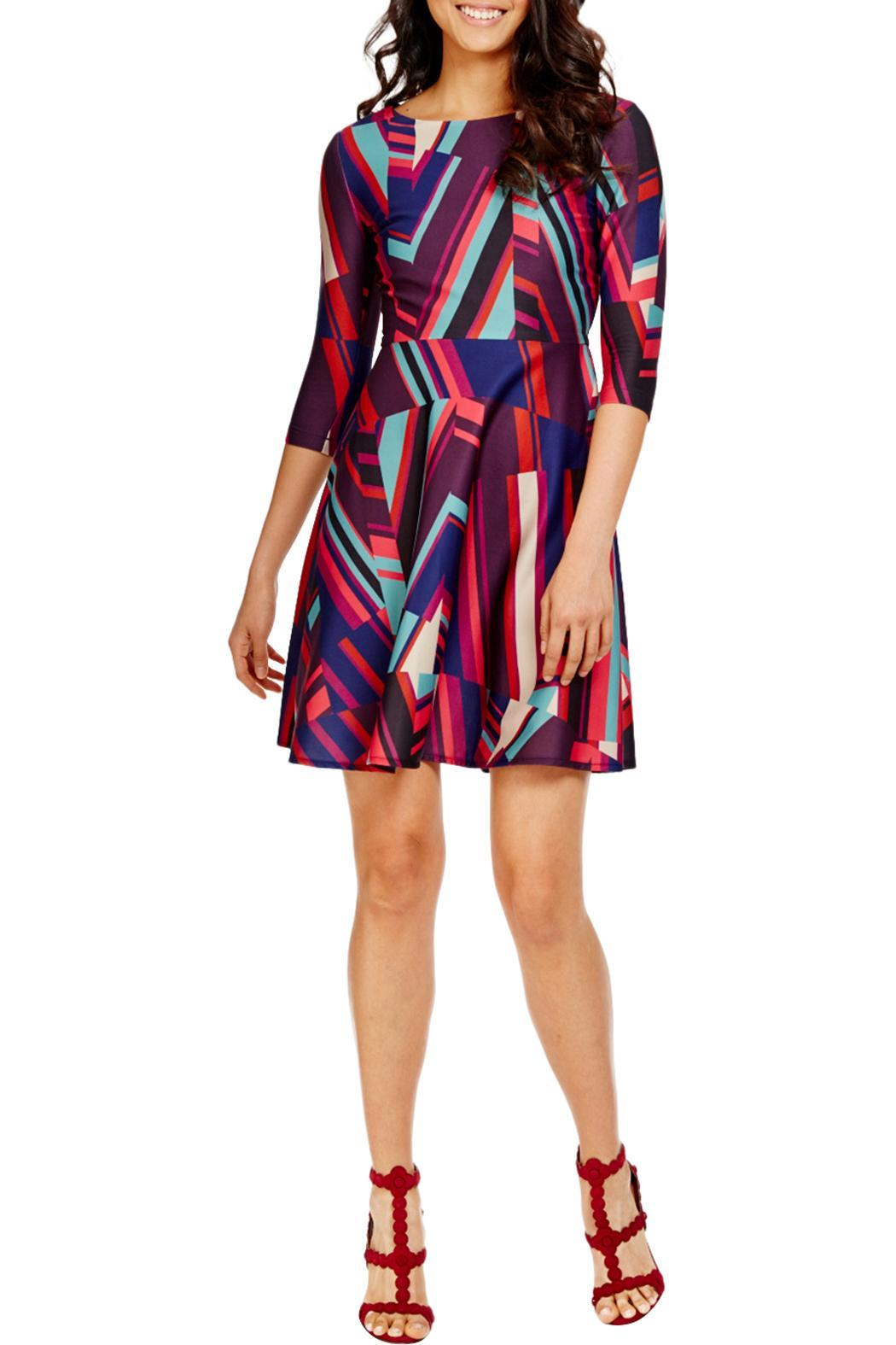 Donna Morgan Abstract Stripefit Flare Dress - Front Cropped Image