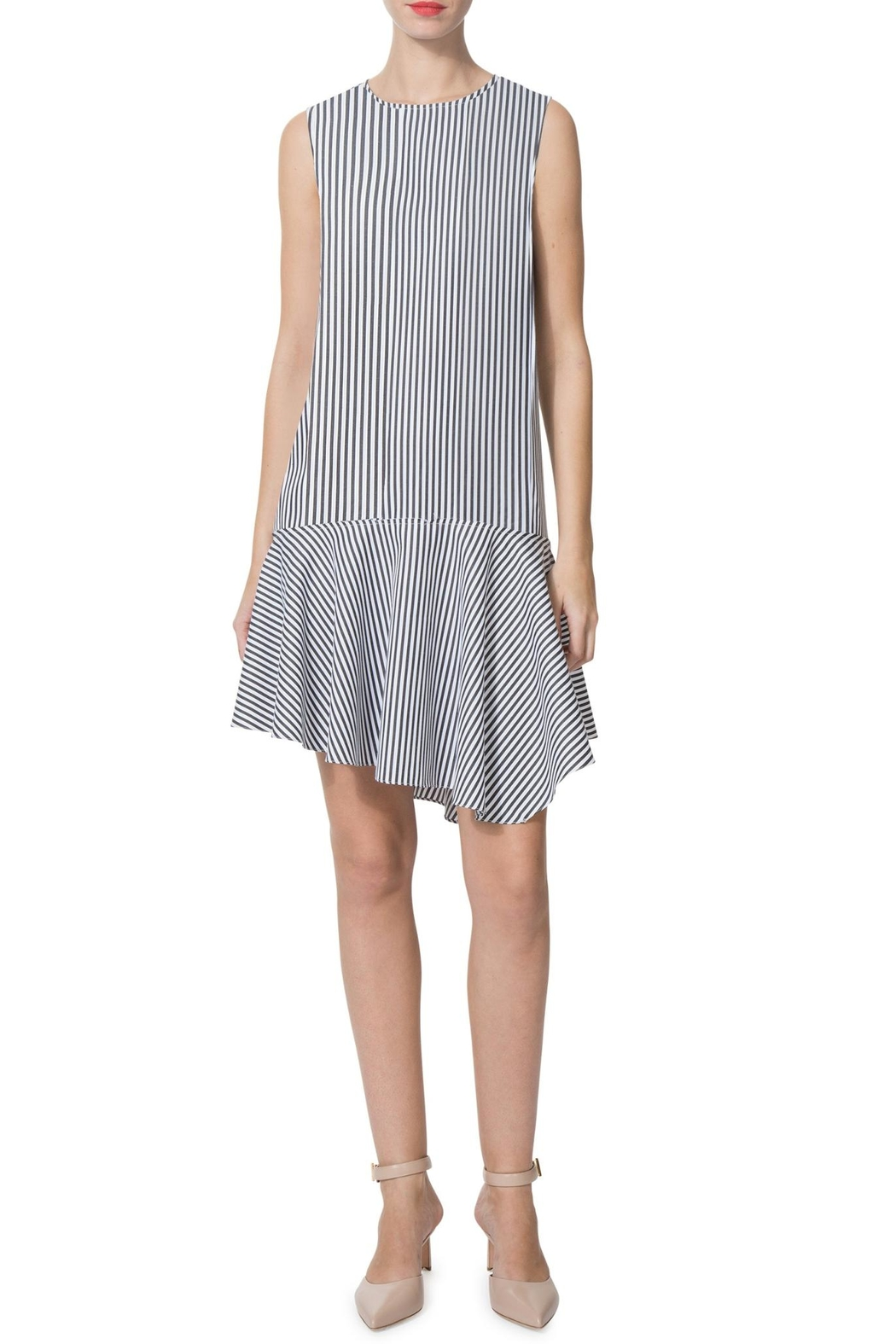 Donna Morgan Edie Striped-Poplin Dress - Front Cropped Image
