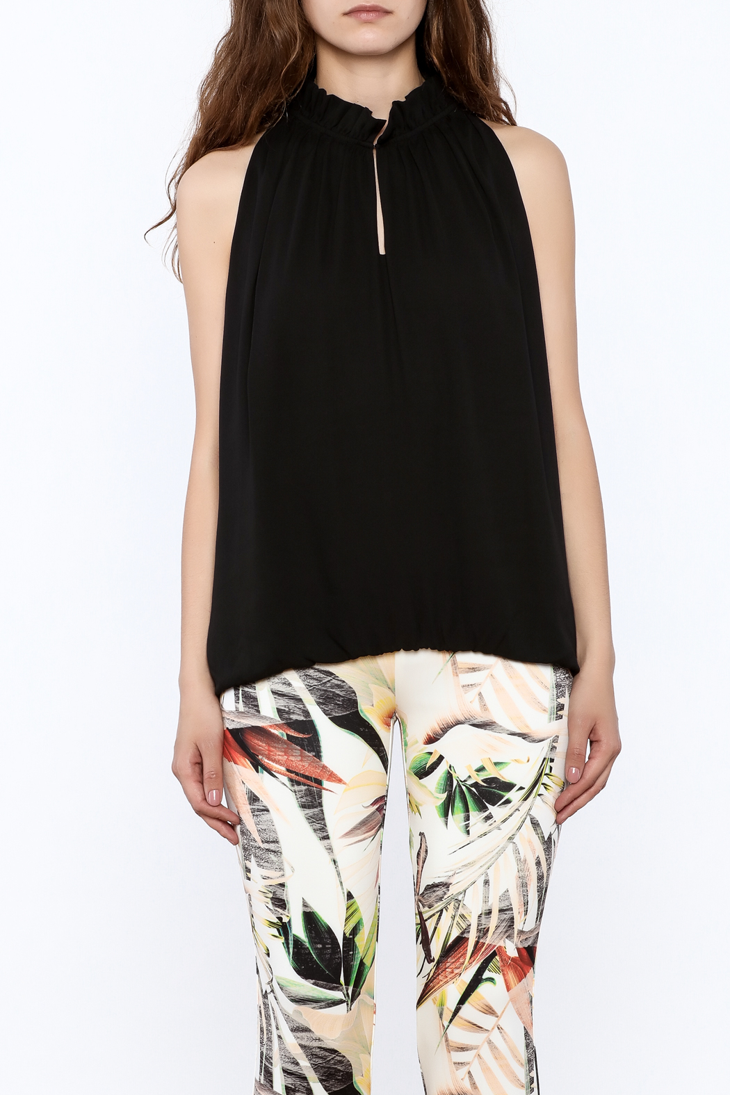 Dora Landa Black Sleeveless Flowy Top - Side Cropped Image