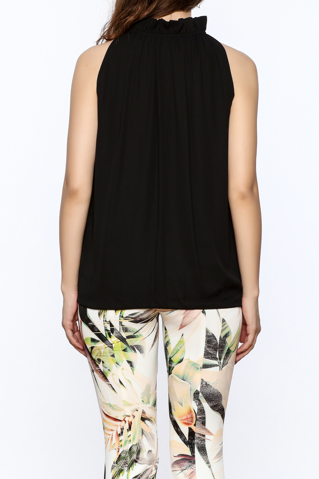 Dora Landa Black Sleeveless Flowy Top - Back Cropped Image