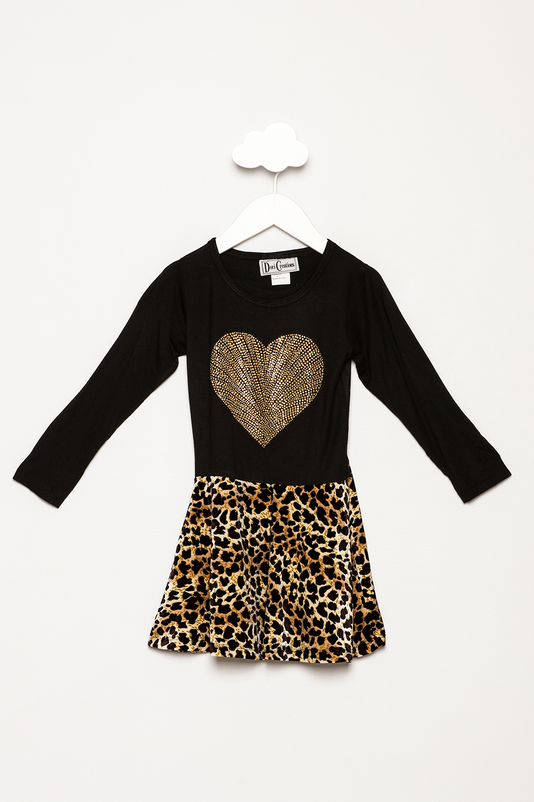 Dori Creations Heart Leopard Print Dress - Front Cropped Image