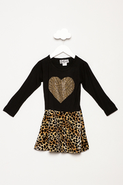 Dori Creations Heart Leopard Print Dress - Front cropped