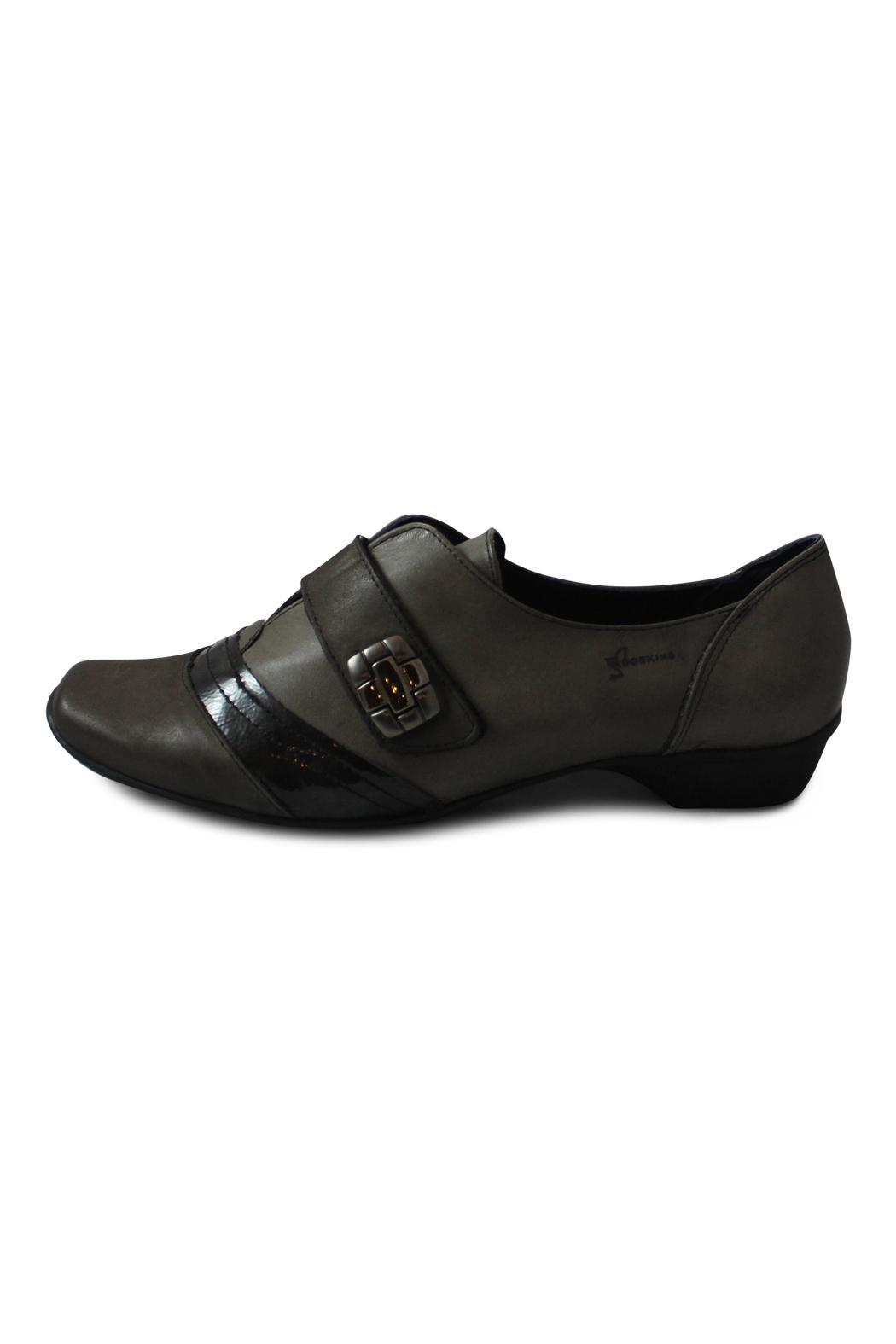 Dorking Black Leather Flat - Front Cropped Image
