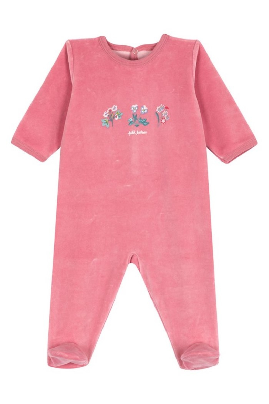 Petit Bateau Dors Bien Pink with Flowers - Front Cropped Image