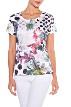 Alison Sheri Dot and Floral Tee - Alternate List Image