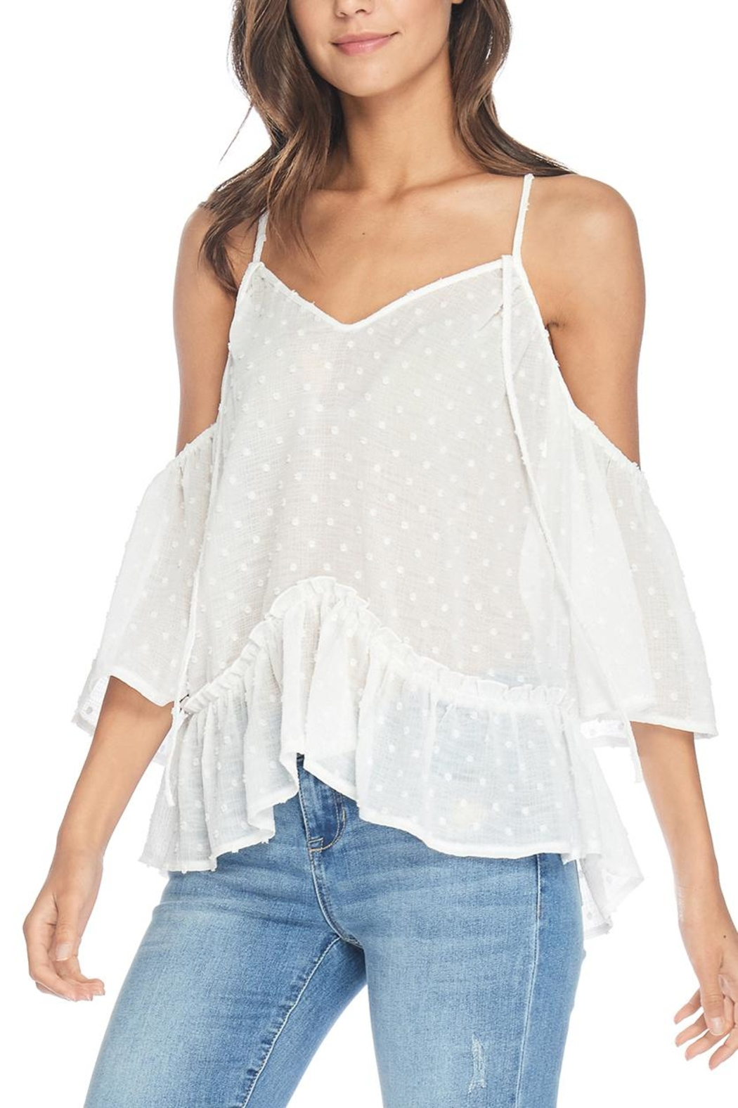 Anama Dot Cold-Shoulder Top - Front Cropped Image