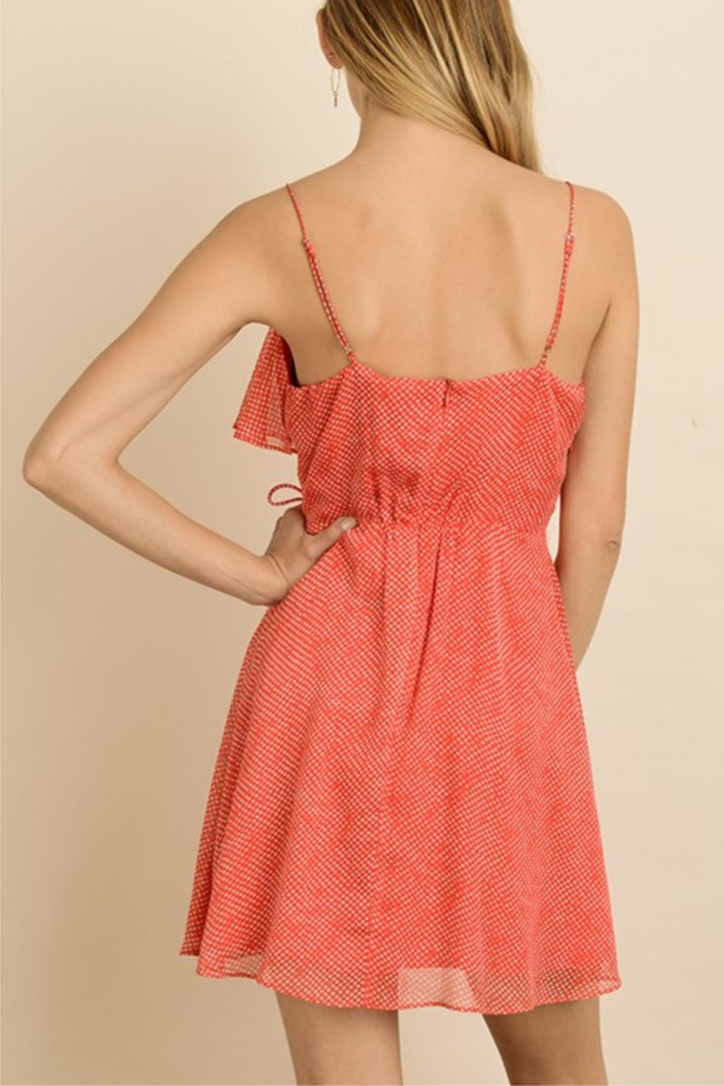 dress forum Dotted Mini Wrap-Dress - Side Cropped Image