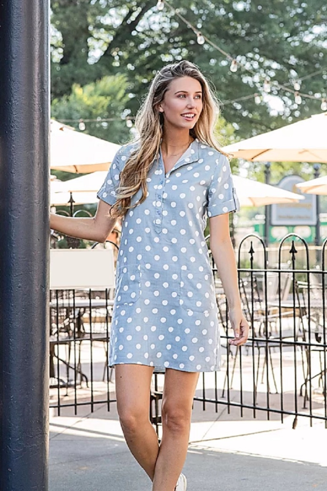 Joy Joy Dotted Placket Dress - Main Image
