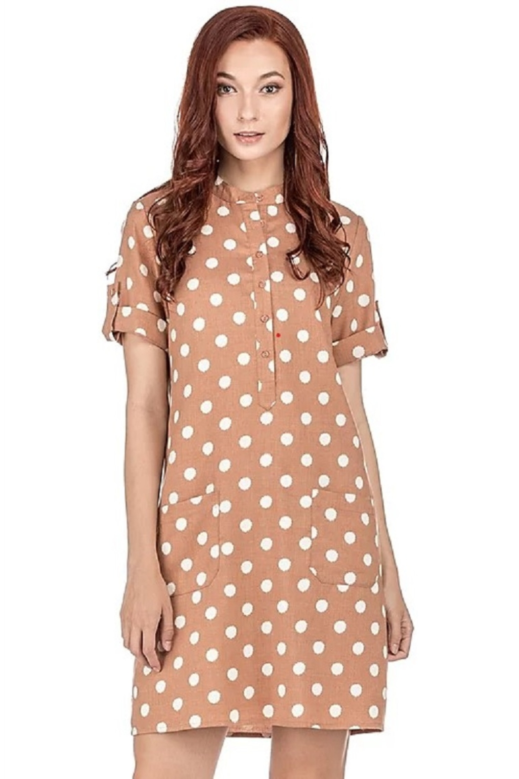 Joy Joy Dotted Placket Dress - Front Cropped Image