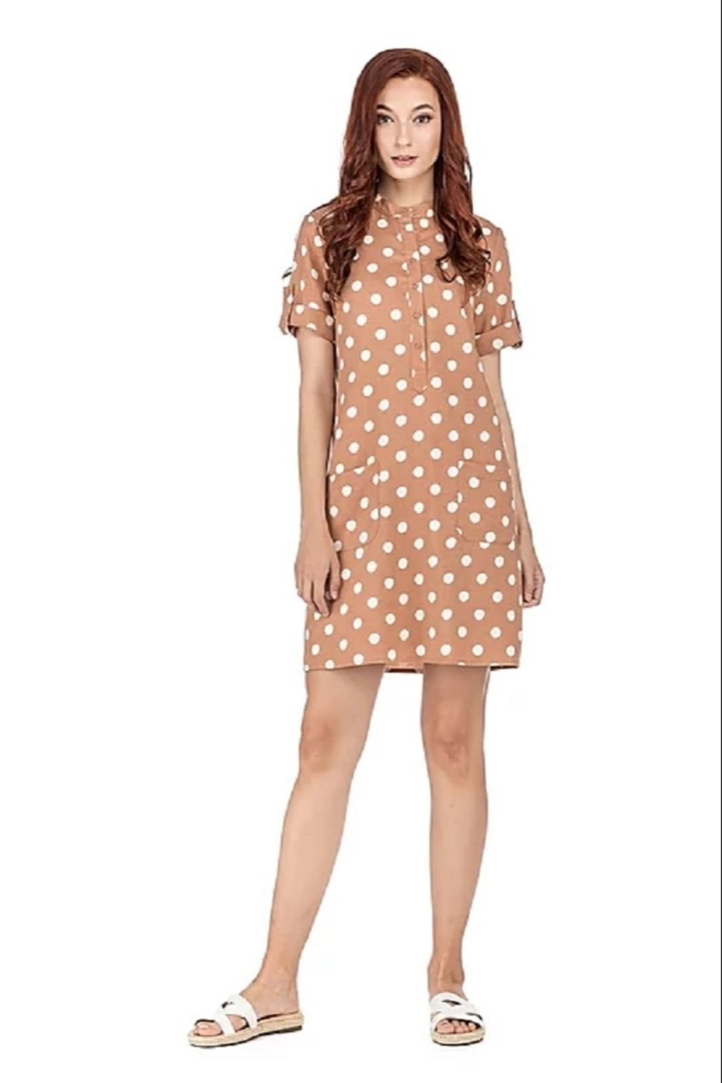 Joy Joy Dotted Placket Dress - Front Full Image