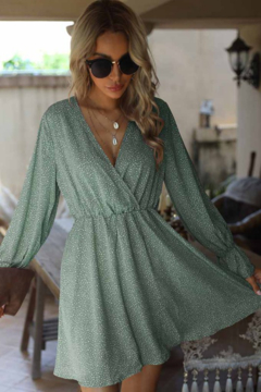Esley  Dotted Printed Long Sleeve Dress - Product List Image