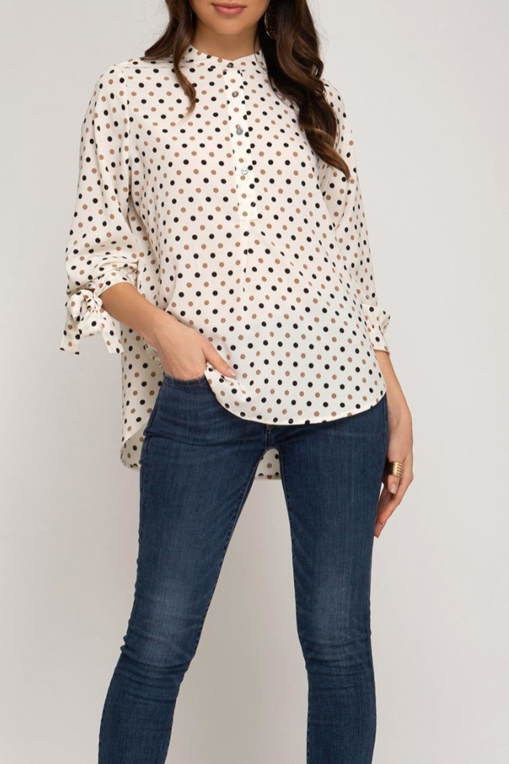 She + Sky Dotted Tunic Blouse - Main Image