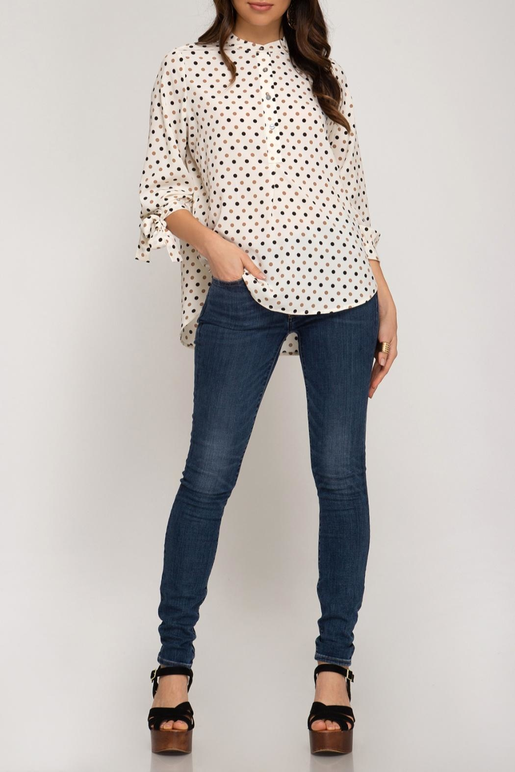 She + Sky Dotted Tunic Blouse - Front Full Image