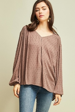 Entro Dotted Vneck Blouse - Product List Image